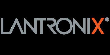 Alstor SDS logo LANTRONIX, napis w szarym kolorze, litera X została wyróżniona na pomarańczowo